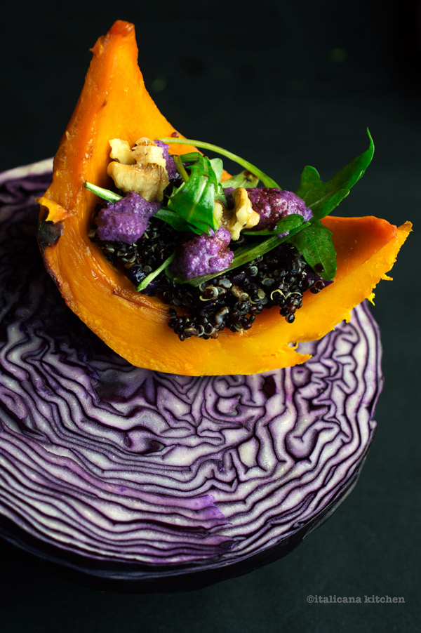 Roasted-Kabocha-Squash-with-Black-Quinoa-and-Cabbage-Pesto-1