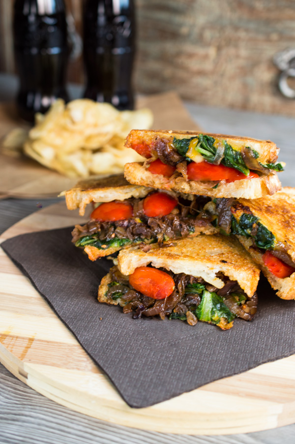 Mouthwatering swiss chard and caramelized balsamic onion grilled cheese sandwich