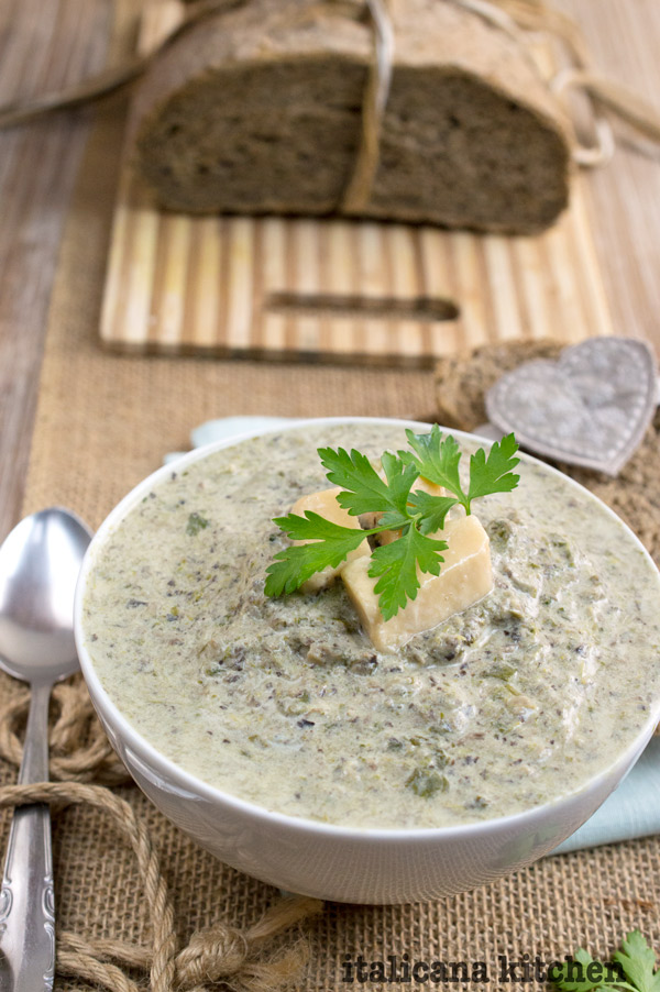 Creamy Mushroom, Parmesan, and Broccoli Rabe Soup