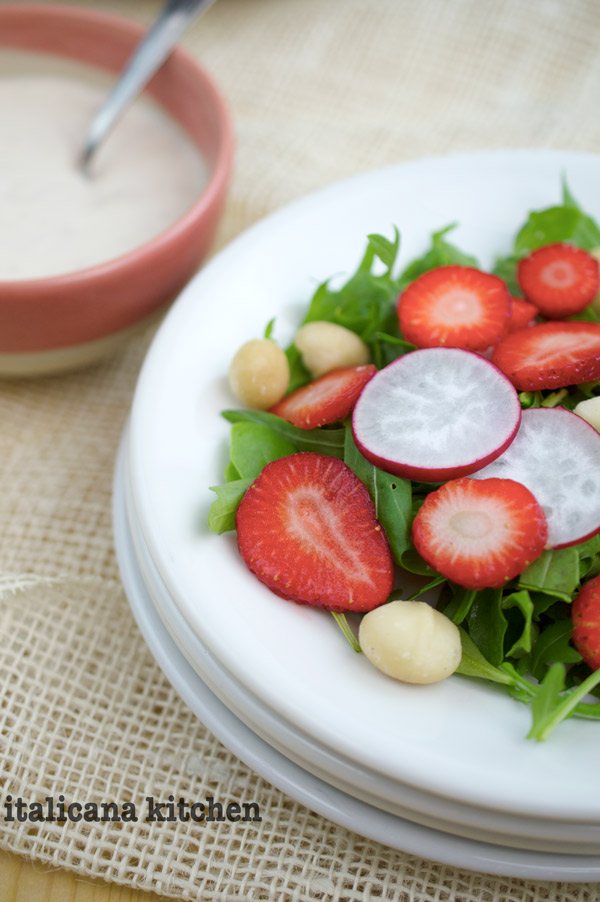 Arugula Salad with Strawberries, Red Radishes, Macadamia Nuts and a Creamy Gorgonzola Dressing