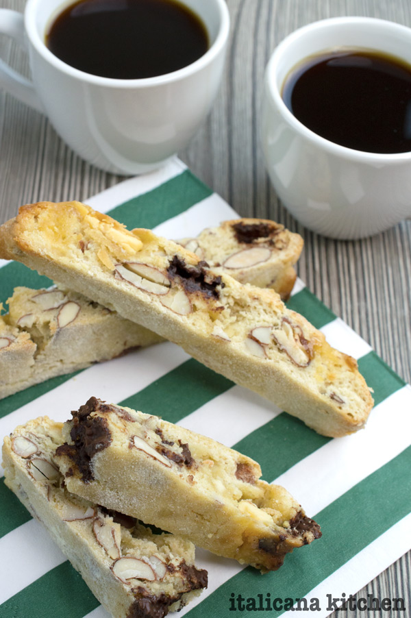 Salted Dark Chocolate, White Chocolate and Almond Biscotti