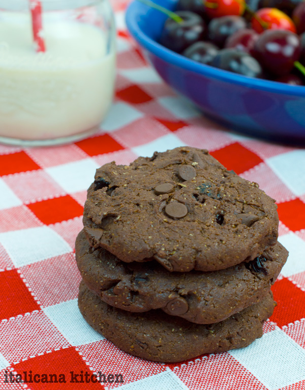 Healthy Chocolate, Avocado and Cherry Cookies