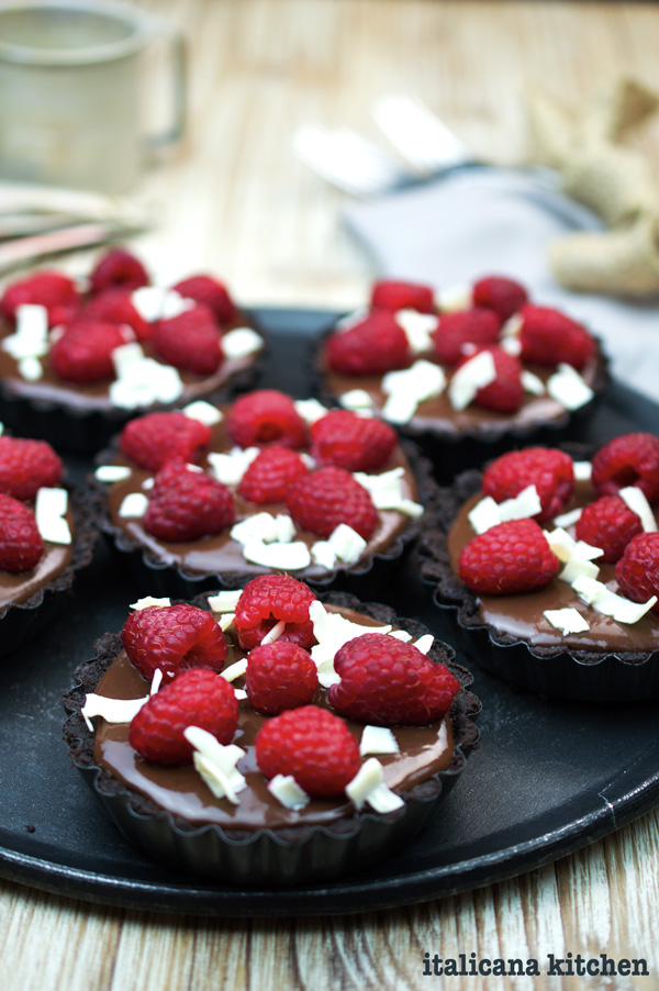 No-Bake Chocolate and Raspberry Tartlets