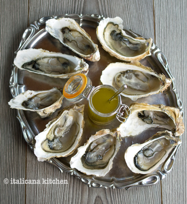 Raw Oysters with a Simple Italian Vinaigrette