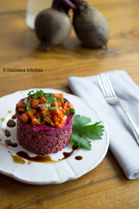 Farro Salad with Beet Sauce and Roasted Carrots