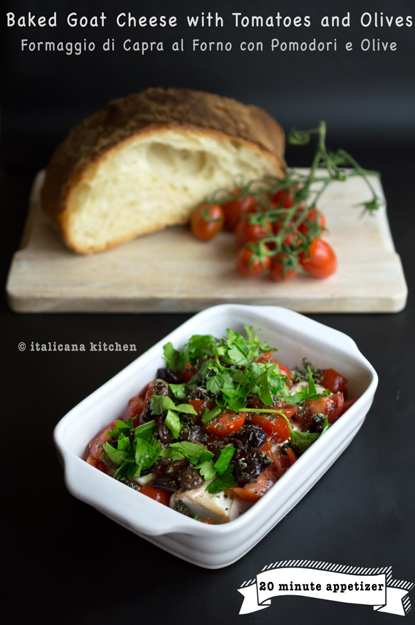Baked Goat Cheese with Tomatoes and Olives