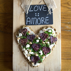 Quinoa Flatbread with Roasted Beet Hearts, Spinach and Goat Cheese
