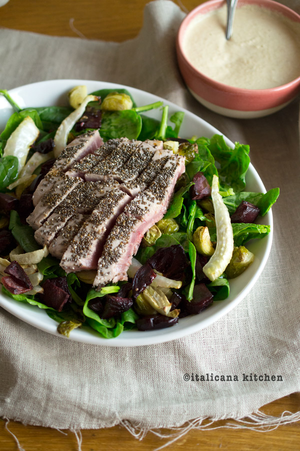 Spinach-Salad-with-Chia-Crusted-Tuna-and-Roasted-Winter-Vegetables-9