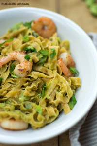 Farro Tagliolini with Shrimp and Fava Bean Pesto