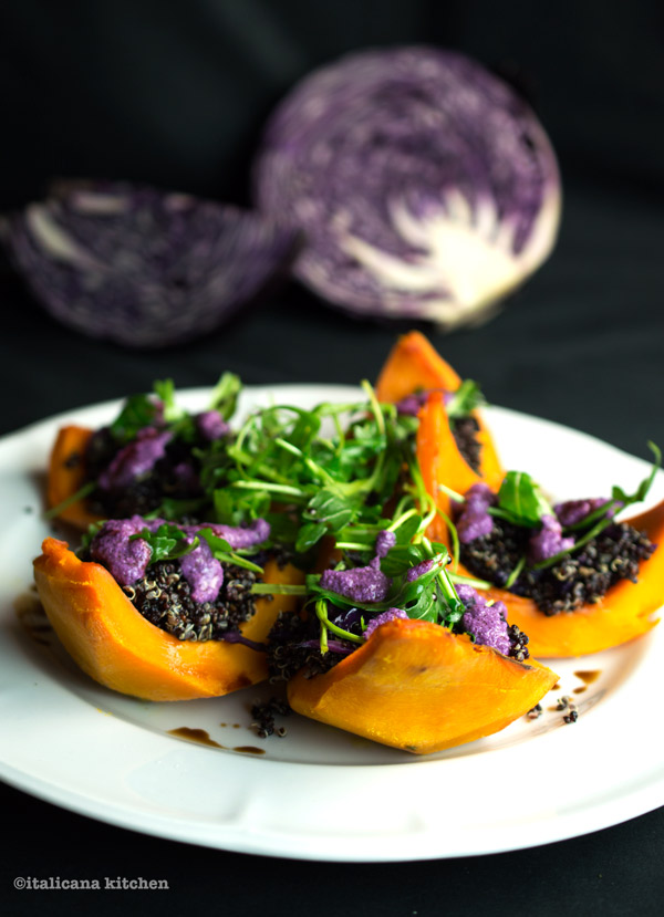Roasted-Kabocha-Squash-with-Black-Quinoa-and-Cabbage-Pesto
