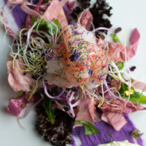 Purple-Potato-Pure-with-Red-Shrimp-Salad