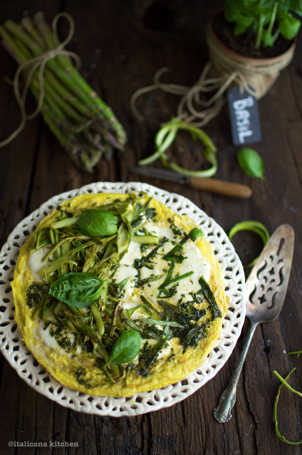Frittata-with-Shaved-Asparagus-Basil-and-Mozzarella