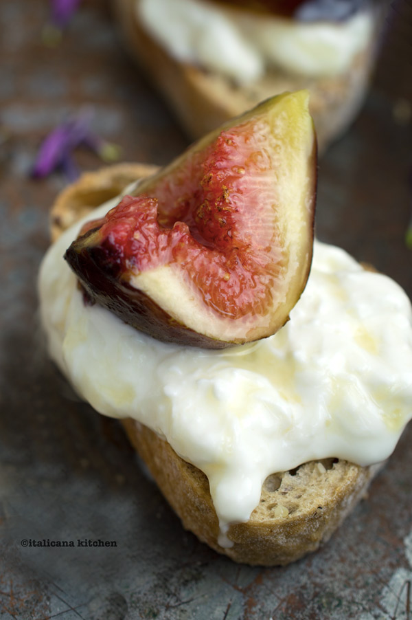 Fig, Stracciatella and Honey Bruschetta