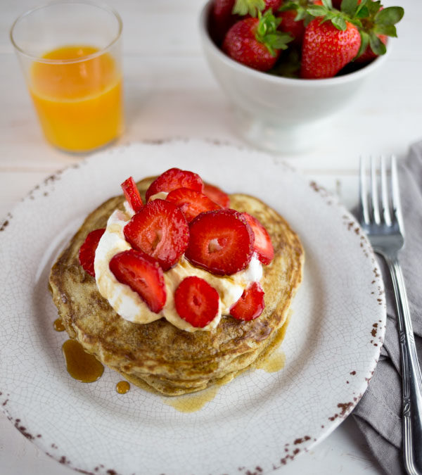 Farro Pancakes with Whipped Cream, Strawberries and Maple Syrup